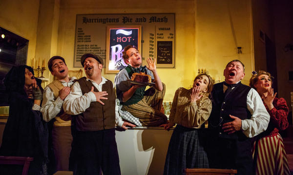 The Barrow Street Theatre has been transformed into a near-perfect recreation of Harrington's Pie & Mash — one of the oldest working pie shops in London.