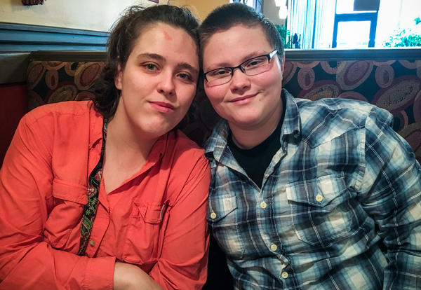 Sonia Murden (left) and Alex Laubert (right) got married last year and attend college in Norfolk, Va. Laubert is preparing to transition to male.