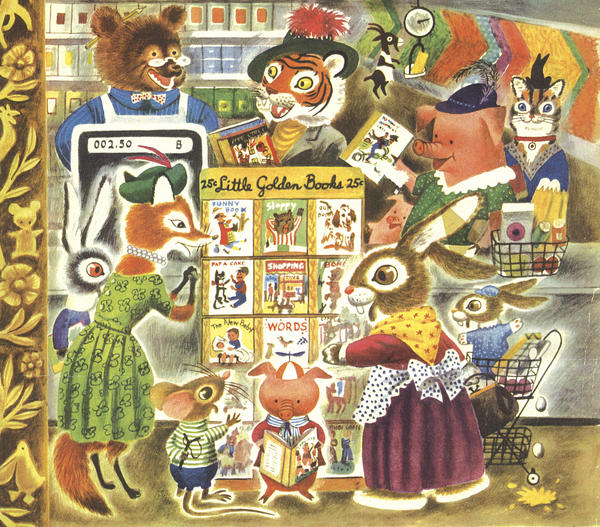 Little Golden Books were sold for just 25 cents in department stores, drug stores and supermarkets. This ad, aimed at grocery chains, illustrated how shoppers picked up the inexpensive picture books during their every day shopping.