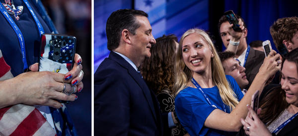 (Left) A woman clutches her cell phone during a special taping of the Hannity Show on the first day of CPAC. (Right) Attendees take selfies with Texas Sen. Ted Cruz.