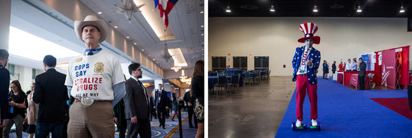 "(Left) Howard ""Cowboy"" Wooldridge, a retired detective who was promoting drug legalization. (Right) Joshua Platillero 23, from the Leadership Institute, rides a hoverboard through the Exhibitor Hub."