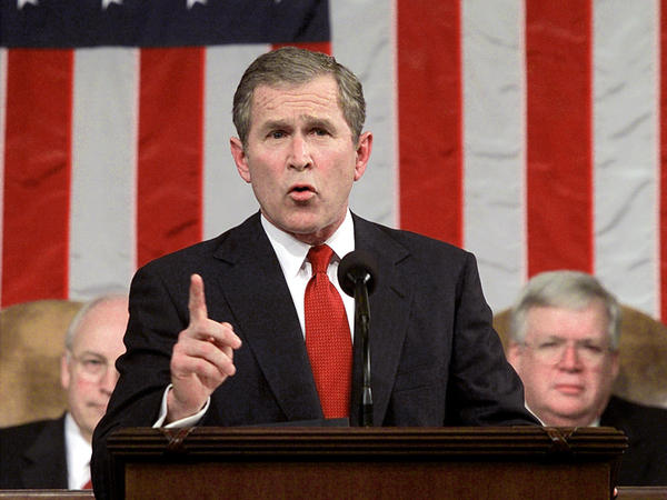 President Bush delivers his first address to a joint session of Congress on Feb. 27, 2001.