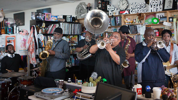 Dirty Dozen Brass Band performs perform a Tiny Desk Concert on Feb. 23, 2017. (Claire Harbage/NPR)