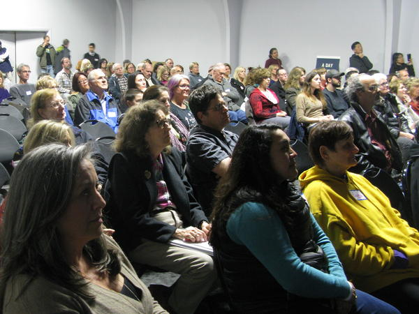 People gather in Campbell, Calif., recently to hear from Native American activists about their experiences fighting the Dakota Access Pipeline near the Standing Rock reservation in South Dakota.