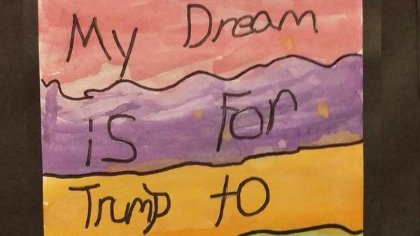 A child's painting from an elementary school in Houston.