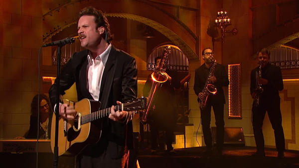 """Father John Misty opened his performance on Saturday Night Live with """"Total Entertainment Forever."""""""