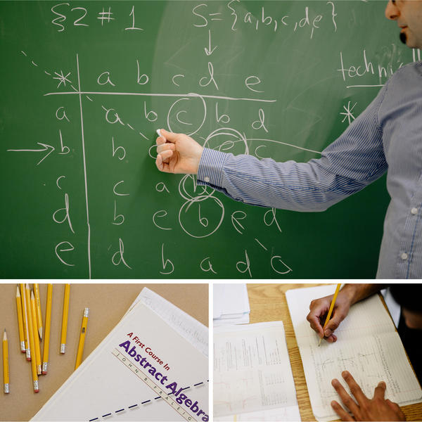 Bard Prison Initiative visiting professor Japheth Wood breaks down an abstract algebra equation during a class. The program, which was initiated in 1999 by a group of student volunteers from Bard College, has since granted over 375 degrees.