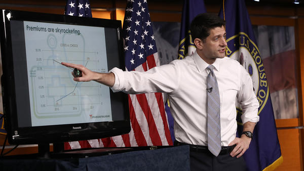 Speaker of the House Paul Ryan, R-Wis., explains the Republican plan to replace the Affordable Care Act during his weekly press conference at the U.S. Capitol on Thursday.