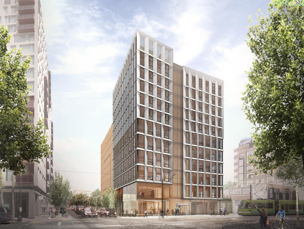 Lever Architecture's Framework exterior rendering, a 148-foot structure that, when completed, will be the tallest timber building in North America.