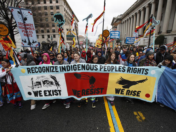 Demonstrators march in Washington, D.C., on Friday, calling on the Trump administration to meet with tribal leaders and opposing construction of the nearly complete Dakota Access Pipeline.