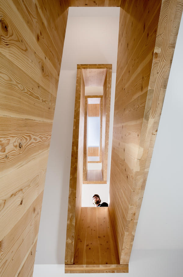 CLT Stair at Albina Yard office building in Portland, Ore. The market for wood products is changing.
