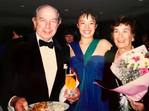 Violinist Mira Wang (center) with Roman and Melanie Totenberg.