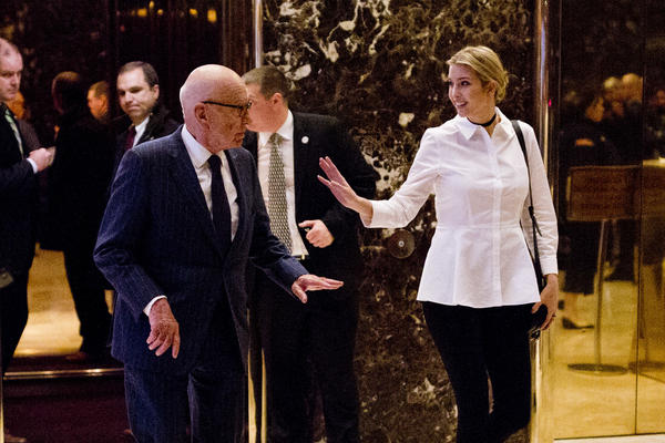 Rupert Murdoch and Ivanka Trump leave Trump Tower in New York City in mid-November last year.