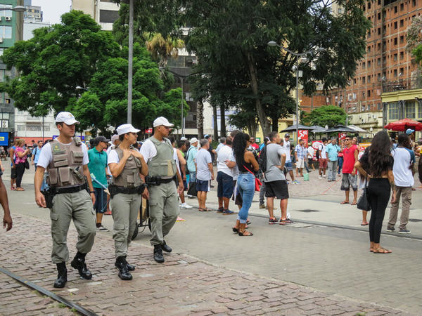 Military police patrol the streets of downtown Porto Alegre amid growing concern over rising crime.