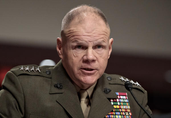 Marine Corps Commandant Gen. Robert B. Neller responds to angry and skeptical questions from senators on Tuesday in Washington.