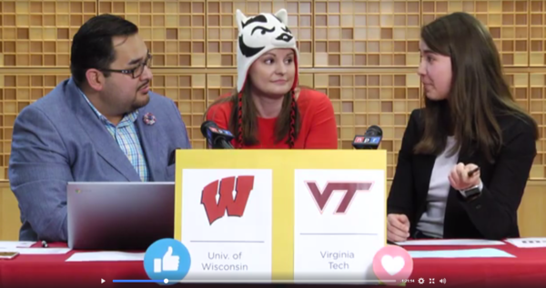 NPR staffers (also known as Nippers) Joe Ruiz, Julie Rogers and Laura Roman appear on NPR Live discussing the NCAA Men's Basketball Tournament. Rogers, a historian on NPR's Research, Archives and Data Strategy team, is representing her alma mater, the Wisconsin Badgers, with her choice of headwear.
