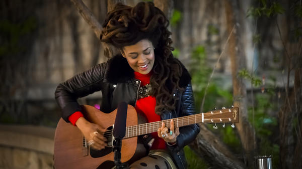 "Valerie June performs ""Astral Plane"" in the courtyard of St. David's Episcopal Church."