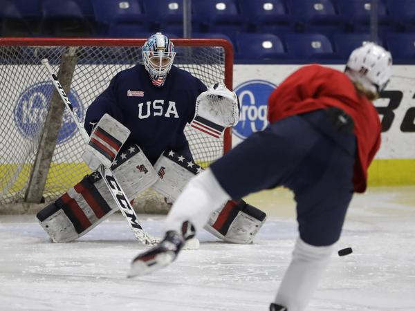 Team USA hockey goalie Alex Rigsby defends the goal during a practice session in Plymouth Township, Mich., in December 2016.