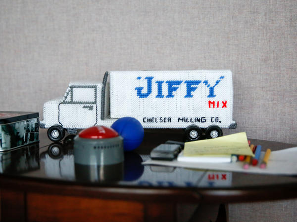 "One of the many ""Jiffy"" themed toys, collectibles and trinkets that fill the offices of the Chelsea Milling Co."