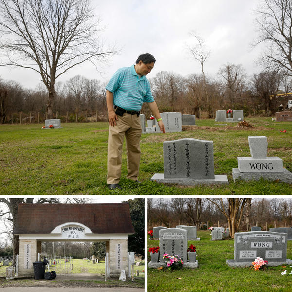 "Raymond Wong (top) visits the gravesite where his parents are buried in Greenville, Miss. Wong's parents are buried in the Chinese cemetery, right across from an African-American cemetery. His family has long been part of a thriving,€"" but separate, Chinese community."