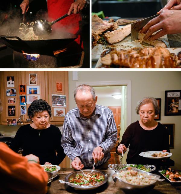 "(Top left) Gilroy Chow makes fried rice in the family's wok in the driveway of their home in Clarksdale, Miss. (Top right) All the meat served was cut up ""bite sized"" so that guests wouldn't need a knife at the table, explains Gilroy. (Bottom) From left: Sally Chow, Gilroy and Alice Chow serve dinner."