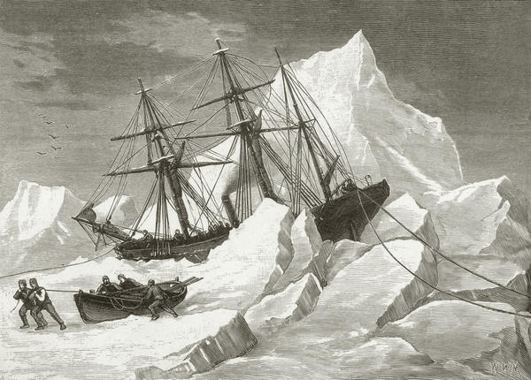 This sketch, by Commander May R.N., circa 1853, depicts one the missions to find the Franklin expedition, which vanished in 1845.