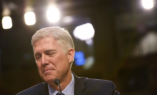 Supreme Court nominee Neil Gorsuch testifies before the Senate Judiciary Committee on Tuesday.