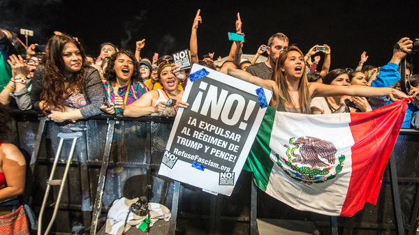 Crowds gather to watch Calle 13's Residente at SXSW's All Latino Resist Concert.