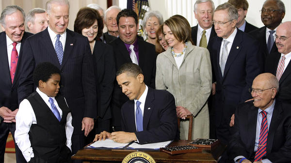 President Obama signs the Affordable Care Act on March 23, 2010. Since then, the bill has been a battering ram for Republicans. But they're struggling to replace it under President Trump.
