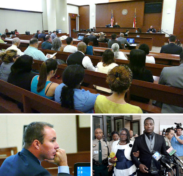 (Top) Randall Kerrick's defense team called several witnesses during the Charlotte-Mecklenburg police officer's voluntary manslaughter trial in August 2015. (Bottom left) Kerrick listens to testimony during his trial. (Bottom right) Jonathan Ferrell's brother, Willie Ferrell, and his mother, Georgia, speak with reporters after a mistrial was declared.