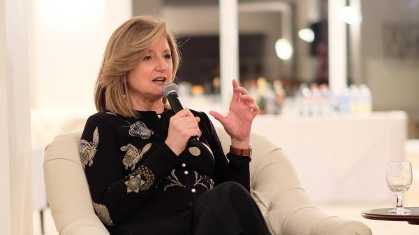 Ariana Huffington speaks on stage during a conference in 2016 in New York City. She's taking a bigger role at Uber.