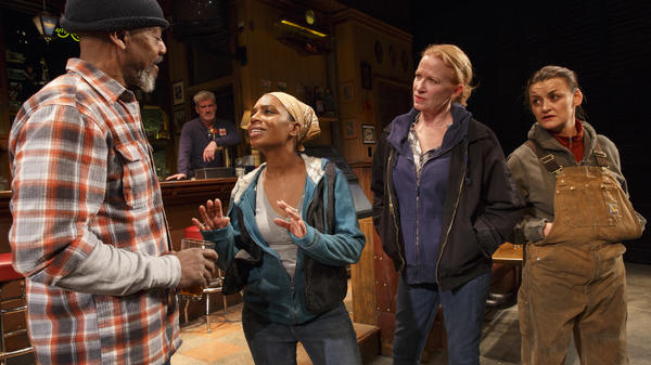 In <em>Sweat</em>, Wright (far right) plays Jessie, a woman who has worked in a factory for 25 years. (Also pictured, left to right: John Earl Jelks, Michelle Wilson and Johanna Day.)