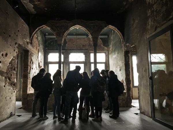 A group of students visits the Beirut mansion that architect Mona El Hallak is working to transform into a museum making sense of Lebanon's civil war.