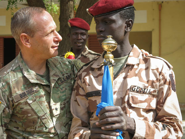 Brigadier General Donald Bolduc, Commander of U-S Special Operations Command, Africa, greeting Chadian troops during the closing ceremony in Ndjamena, Chad, of US military-led Flintlock 2017 counterterrorism exercises and training with African and global allies.