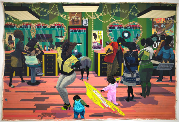 <em>Kerry James Marshall, School of Beauty, School of Culture,</em> acrylic and glitter on unstretched canvas, 2012