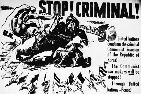 A United Nations propaganda poster from the Korean War era bears an anti-communist message. In South Korea, the propaganda turned North Koreans into beast-like characters.