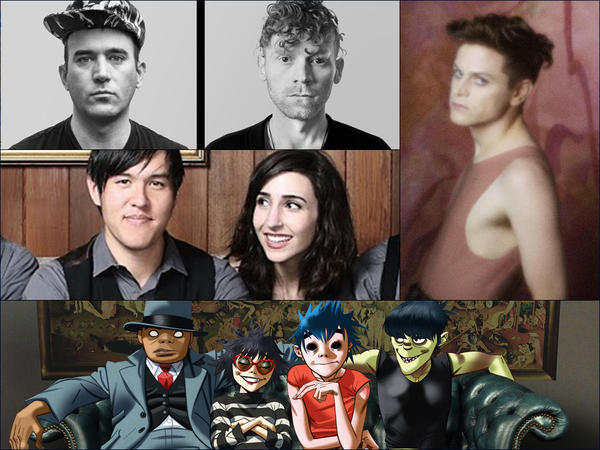Clockwise from upper left: Sufjan Stevens with James McCalister, Perfume Genius, Gorillaz, The Family Crest