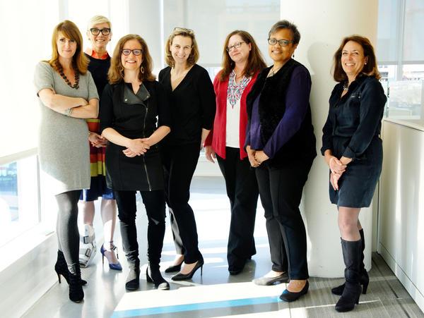 From left to right: Meg Goldthwaite, Stephanie Witte, Anya Grundmann, Loren Mayor, Gemma Hooley, Deborah Cowan, Gina Garrubbo - Not pictured: Marjorie Powell