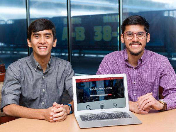 Nathan Dass (left), a computer science major, and Murtaza Bambot, an industrial engineering major, invented InternBlitz at Georgia Tech.