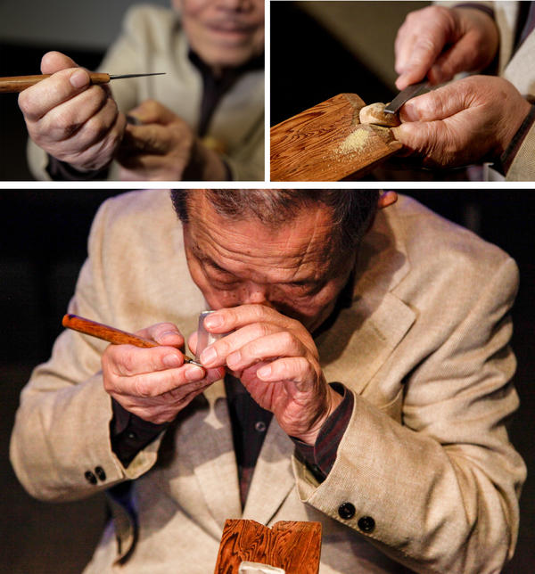 Top: Ryushi Komada uses handmade tools that each have a specific purpose. Bottom: Komada uses a magnifying glass to examine the fineness of a blade.