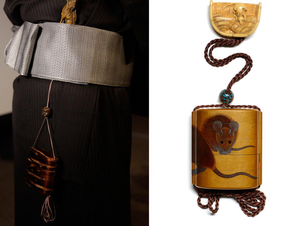 (L) A demonstration of how netsuke, tiny carved pieces, were used in traditional dress. (R) Netsuke were worn as part of an ensemble that included <em>inro</em>, or containers, and <em>ojime</em>, or sliding beads that allow <em>inro</em> to be opened and closed.
