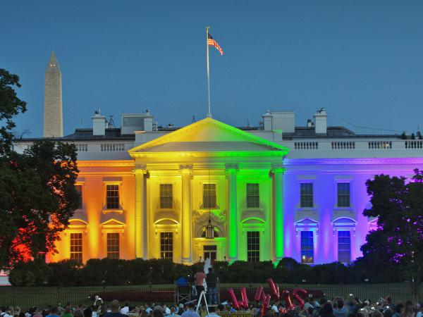 In celebrating the 2015  Supreme Court's ruling to legalize same-sex marriage, the White House lit-up with the iconic color scheme of Baker's flag.