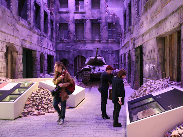 Visitors tour the exhibitions at the Second World War Museum in Gdansk. The museum's goal, its director says, is to show the lives and fates of civilians and soldiers, not just in Poland but in other European countries as well.