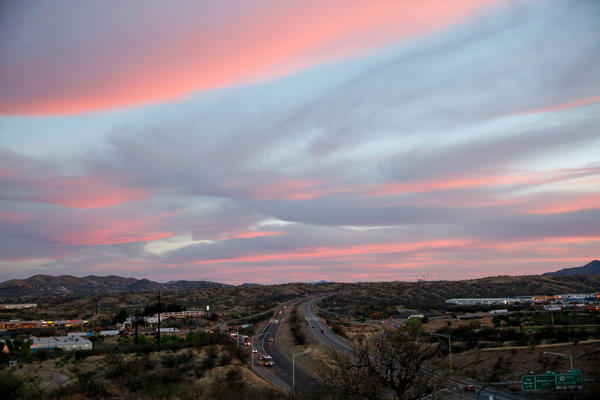 The sun sets over Nogales, Ariz.