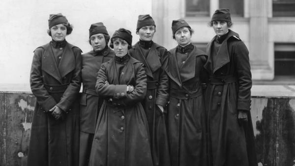 Six members of the U.S. Army Signal Corps preparing to ship off for France in 1918, where they and 217 other women served as switchboard operators.