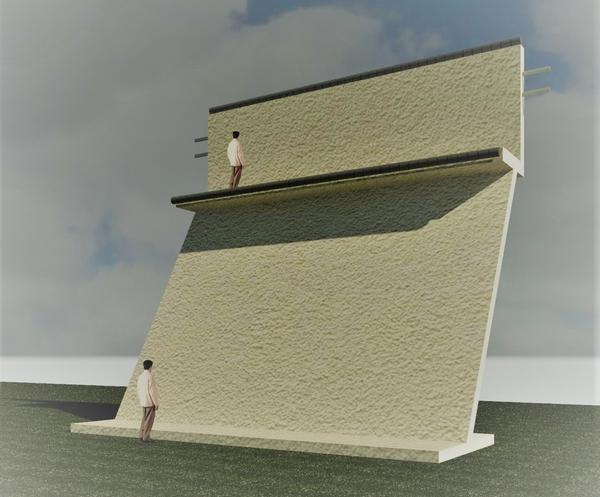 Between its sloped surface and the walkway near the top, the security curtain wall aims to make climbing an impossible task for those seeking to cross the border.