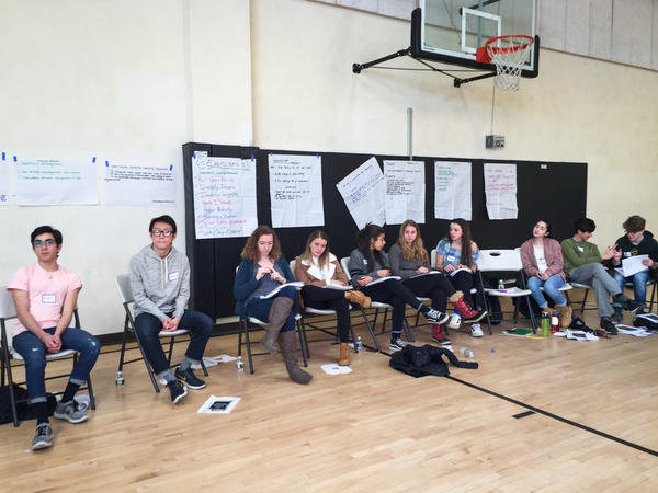 "Brookline High School student volunteers review the Anti-Defamation League's ""A World of Difference"" curriculum and prepare to run workshops for their peers."