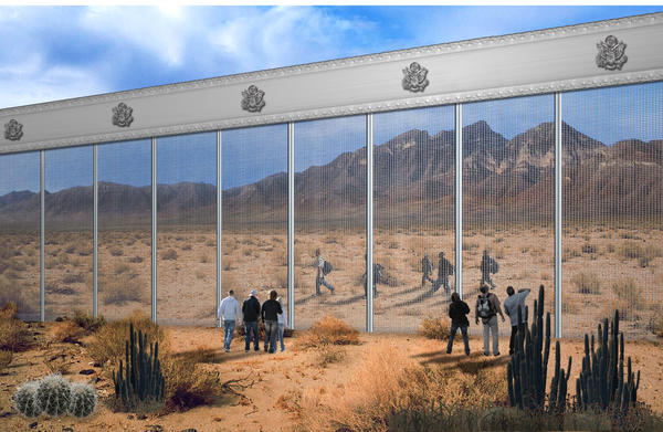 The Penna Group rendering, which displays two groups on either side watching each other through the mesh.