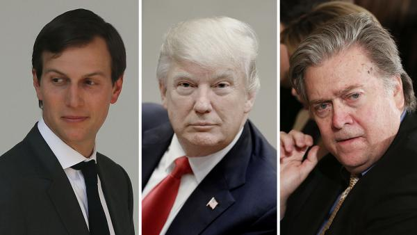 Jared Kushner (from left), President Trump's son-in-law; President Trump; and White House chief strategist Steve Bannon. Bannon's influence with Trump appears to be on the decline with Kushner on the rise.