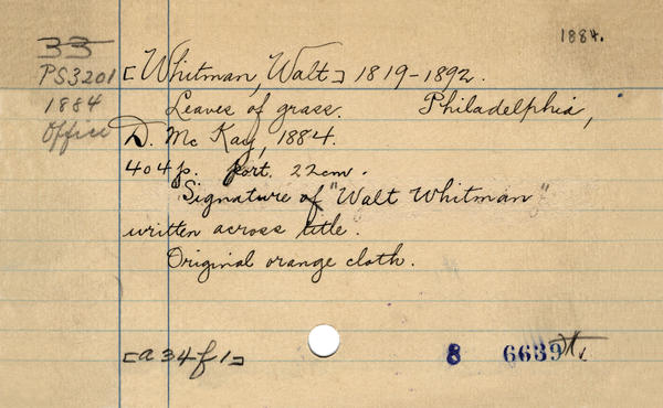 The Library of Congress card for Walt Whitman's <em>Leaves of Grass.</em>